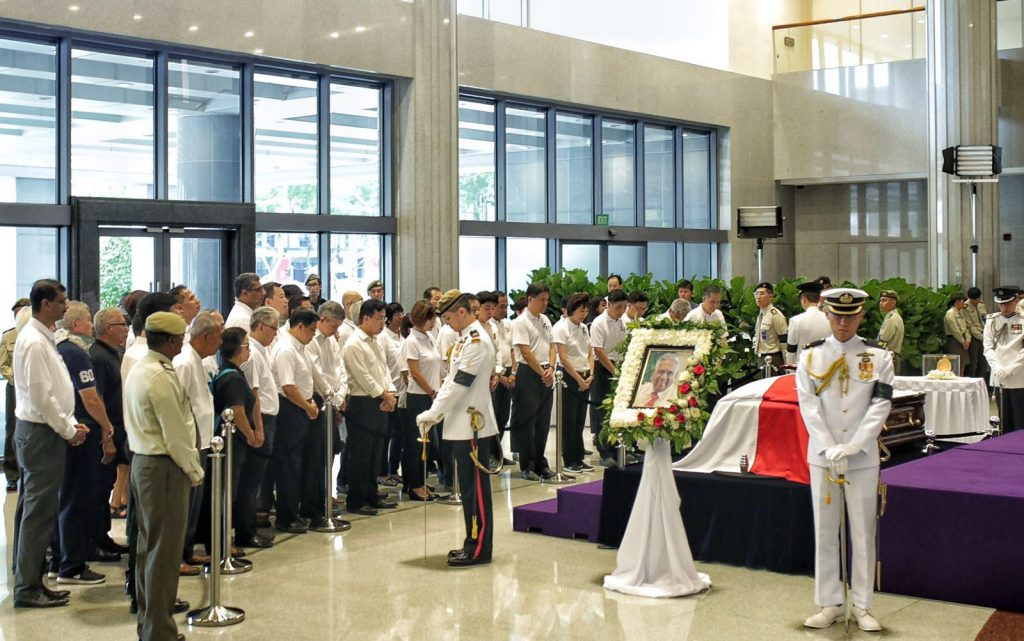 NTUC, the first organised group led by NTUC President Mary Liew and NTUC Secretary General Chan Chun Sing, paying their last respects to Mr S R Nathan. (via NTUC)