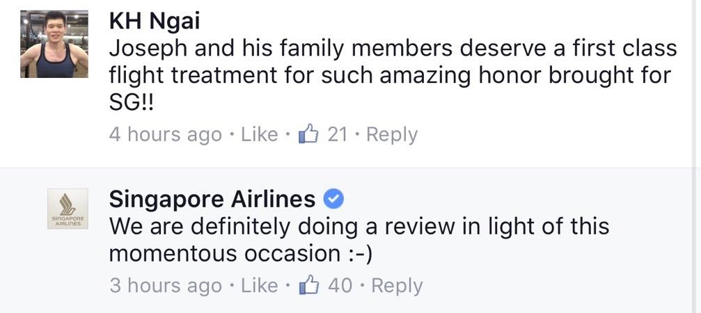 via Facebook / Singapore Airlines