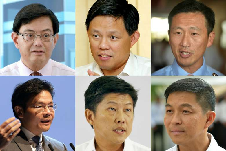 Clockwise from top left: Finance Minister Heng Swee Keat, Minister in the Prime Minister's Office Chan Chun Sing, Acting Minister for Education (Higher Education and Skills) Ong Ye Kung, Minister for Social and Family Development Tan Chuan-Jin, Acting Minister for Education (Schools) Ng Chee Meng and National Development Minister Lawrence Wong.